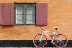 White Bicycle Copenhagen. Street scenery from Copenhagen, in Denmark Royalty Free Stock Photos