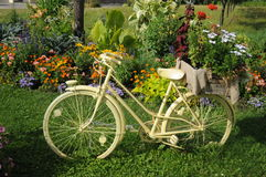 White Bicycle With Flowers Stock Images