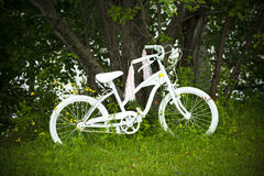 White Bicycle in Garden. A painted white bicycle leaning against a large tree in a garden setting. Pink and white streamers fall from the handlebars Royalty Free Stock Photo