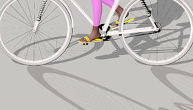 White bicycle on gray. Girl riding a white bike on a gray background, only legs of the girl are visible, two shadows, 3D illustration, raster illustration Stock Images