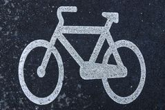 White bicycle marking Stock Images