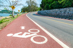 White bicycle path way sign Royalty Free Stock Photography