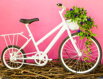 White bicycle on pink wall Stock Images