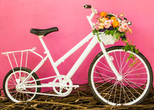 White bicycle on pink wall Royalty Free Stock Photos