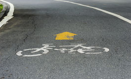 White Bicycle symbol on road Stock Photography