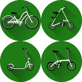 White bicycles, A-bike and scooter on a green background with long shadow Stock Photos