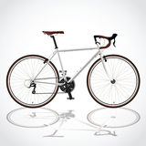 White bicyle. Race road bike isolated bicycle on white, fixed gear Stock Image