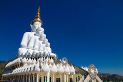 White Big Buddha with different sizes in temple thailand Stock Images