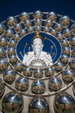 White Big Buddha with different sizes in temple thailand Stock Image