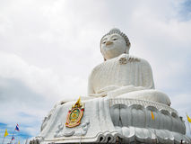White Big Buddha in phuket Thailand. Outdoor roadside public temple, White Big Buddha in phuket Thailand, the temple has created with money donated by people to Royalty Free Stock Images