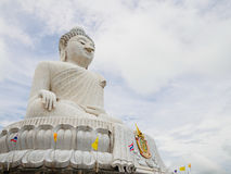 White Big Buddha in phuket Thailand. Outdoor roadside public temple, , the temple has created with money donated by people to hire artist no restrict in copy or Royalty Free Stock Images