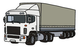 White big cover semitrailer. Hand drawing of a funny white towing truck with a cover semitrailer - not a real type Royalty Free Stock Photography
