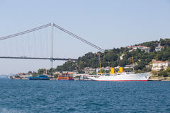 White big cruise ship and water Bosphorus strait in Istanbul, Turkey. ISTANBUL, TURKEY - JULY 29, 2015 : White big cruise ship and water Bosphorus strait in Royalty Free Stock Image