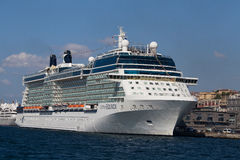 White big cruise ship and water Bosphorus strait in Istanbul, Turkey. ISTANBUL, TURKEY - JULY 18, 2015 : White big cruise ship and water Bosphorus strait in Stock Photos