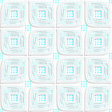 White big leaves perforated and blue rectangles seamless Royalty Free Stock Images