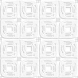White big leaves perforated and rectangles seamless Royalty Free Stock Image