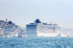 White big passenger liners in harbor at sunny summer day Royalty Free Stock Photography