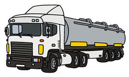 White big tank semitrailer. Hand drawing of a funny white towing truck with a steel tank semitrailer - not a real type Stock Photo