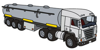 White big tank semitrailer. Hand drawing of a funny white towing truck with a steel tank semitrailer - not a real type Stock Photos