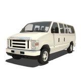 White Big Van Isolated Stock Photo