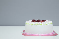 White biirthday cake with strawberry Royalty Free Stock Photo