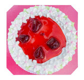 White biirthday cake with strawberry isolated on white backgroun Stock Images