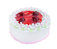 White biirthday cake with strawberry isolated on white backgroun Stock Image
