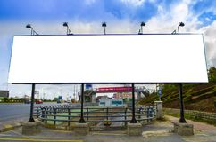 Highway equipment, white bilboard over the road. White bilboard over the road. Highway equipment royalty free stock photos