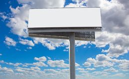 white billboard on the background of the sky stock image