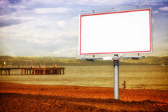 White billboard and Baltic sea pier Gdansk Poland. Royalty Free Stock Photo