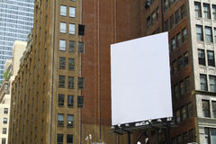 White billboard. A blank New York City billboard all ready to be filled in stock photography