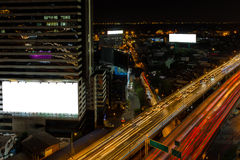 White billboard and cityscape expressway Stock Image