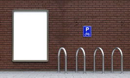 White billboard and empty bike parking Royalty Free Stock Image
