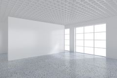 White billboard in an empty office with large windows and beautiful diffused light from the window. 3D rendering.  Stock Image