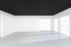 White billboard in an empty office with large windows and beautiful diffused light from the window. 3D rendering.  Stock Photos