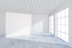 White billboard in an empty office with large windows and beautiful diffused light from the window. 3D rendering.  Stock Photo