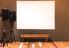 White Billboard with modern Speakers Stock Image