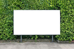 White billboard on spring summer green leaves. White billboard mockup on spring summer green leaves background royalty free stock image
