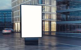 White billboard on the street. 3d rendering Stock Photo
