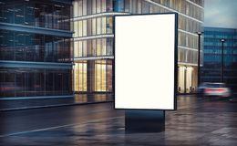 White billboard on the street. 3d rendering Royalty Free Stock Photo