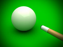White billiard ball with stick on green pool table. 3d vector illustration