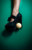 White billiard ball stuck in high heel black shoe Royalty Free Stock Photos