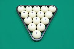 White billiard balls for Russian billiards, in a triangle on the table.  Stock Images