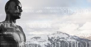White binary code against black male AI and snowy mountain tops Royalty Free Stock Photos