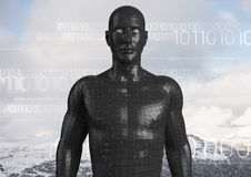 White binary code against black male AI and snowy mountain tops Royalty Free Stock Images