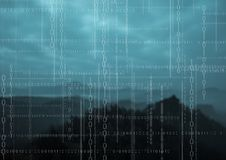 White binary code against mountains at night. Digital composite of White binary code against mountains at night Royalty Free Stock Images