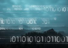 White binary code against mountains at night Stock Photography
