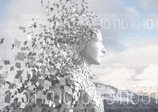 White binary code against white male AI and snowy mountain tops Stock Photo