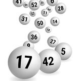 White Bingo Balls. Lottery Number Balls. Vector illustration. White balls are falling from the top. White Bingo Balls. Lottery Number Balls. Vector illustration Royalty Free Stock Images