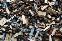 White birch firewood pile background Royalty Free Stock Photo